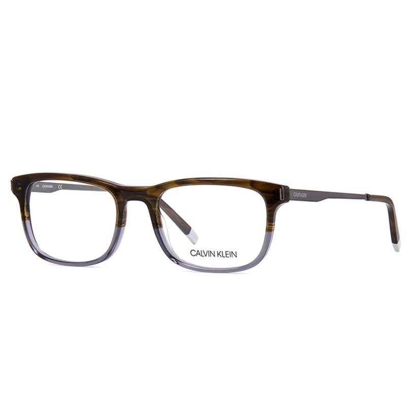 barna-szürke calvin klein szemüvegkeret ezüst szárral